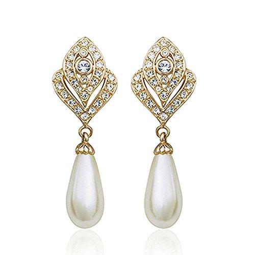 b5aaa2035 EVER FAITH Bridal Silver-Tone Flower Simulated Pearl Stud Earrings ...
